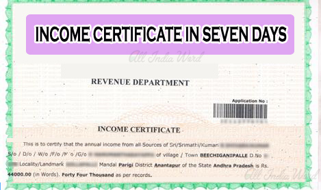 Income Certificate in 7 days Telangana Andhra Pradesh states