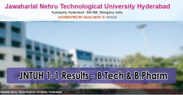 JNTUH 1-1 Results - B.Tech and Bpharm