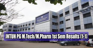 JNTUH PG M.Tech M.Pharm 1st Sem Results (1-1)
