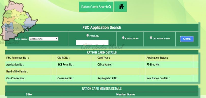 Telangana Food Security Card ration card status apply