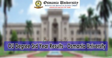 OU Degree 3rd Year Results - Osmania University